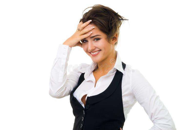 Rire de femme d'affaires d'isolement sur le blanc photographie stock