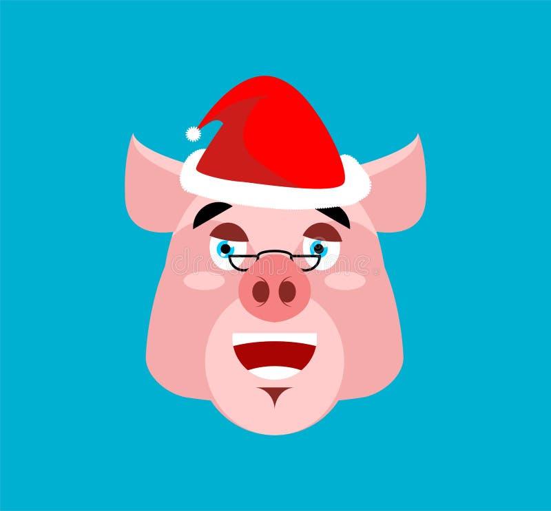Rire Emoji de Santa Pig Visage porcin gai Avatars de Noël illustration libre de droits