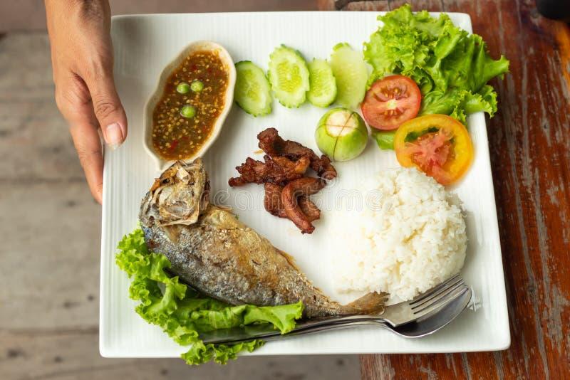 Ris, chilisås, fisken och griskött stekte med grönsaker på en whit arkivfoton