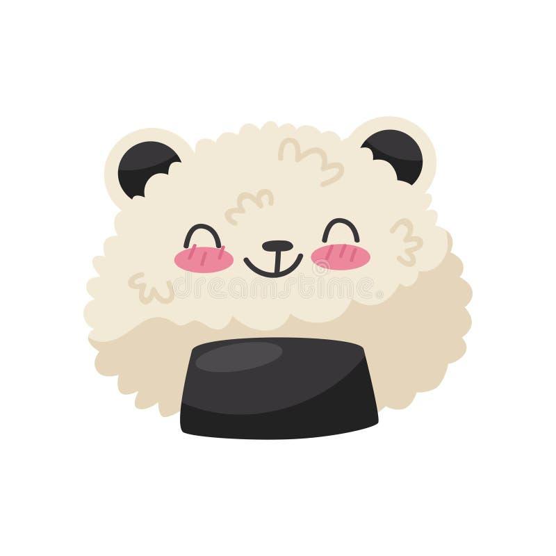 Ris i form för pandabjörn, gullig illustration för vektor för tecken för Kawaii mattecknad film på en vit bakgrund vektor illustrationer