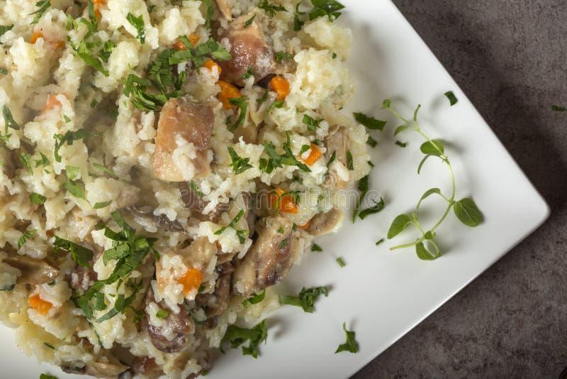 Ris med fegt kött och champinjoner, örter och andra grönsaker royaltyfri foto