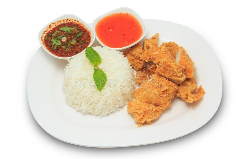 Ris med stekt kyckling och thailändsk stilsås och chilisås royaltyfri foto