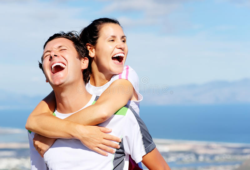 Risa alegre de los pares imagen de archivo libre de regalías