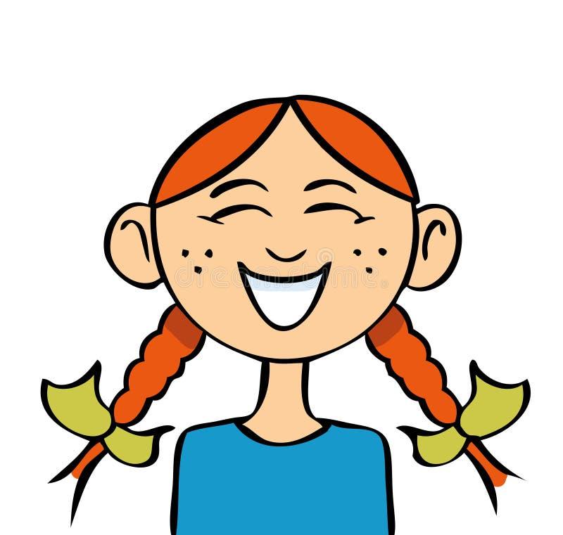 Risa de la muchacha de la historieta stock de ilustración