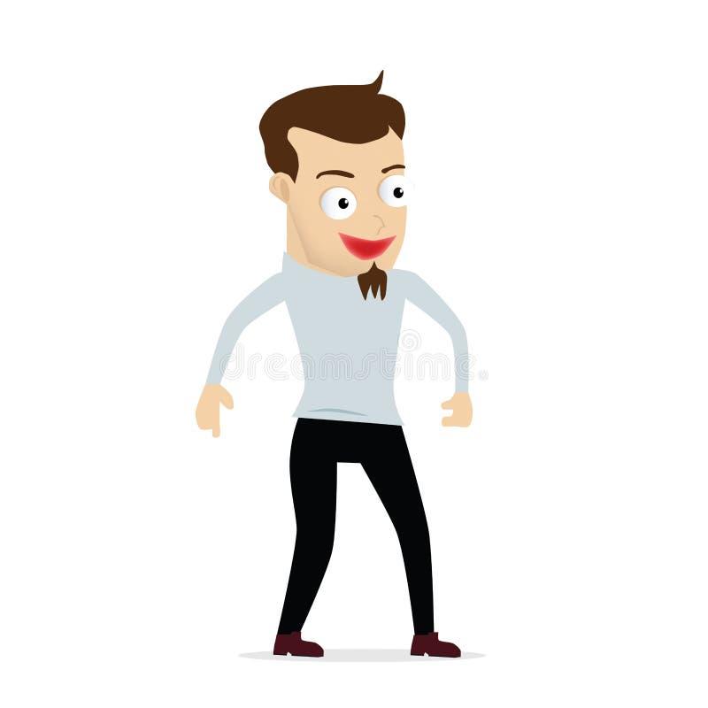 Risa joven de la historieta del hombre de negocios stock de ilustración