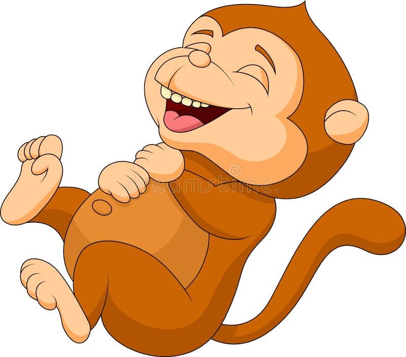 Risa linda de la historieta del mono stock de ilustración