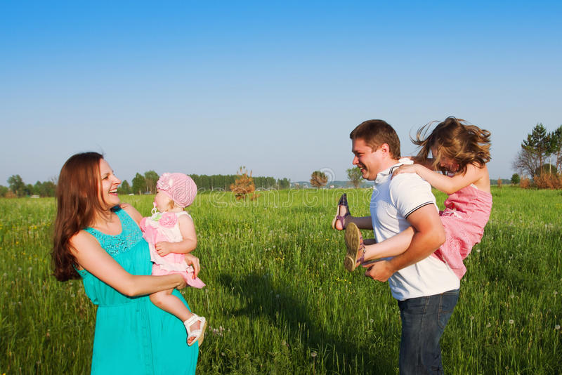 Risata della famiglia fotografia stock