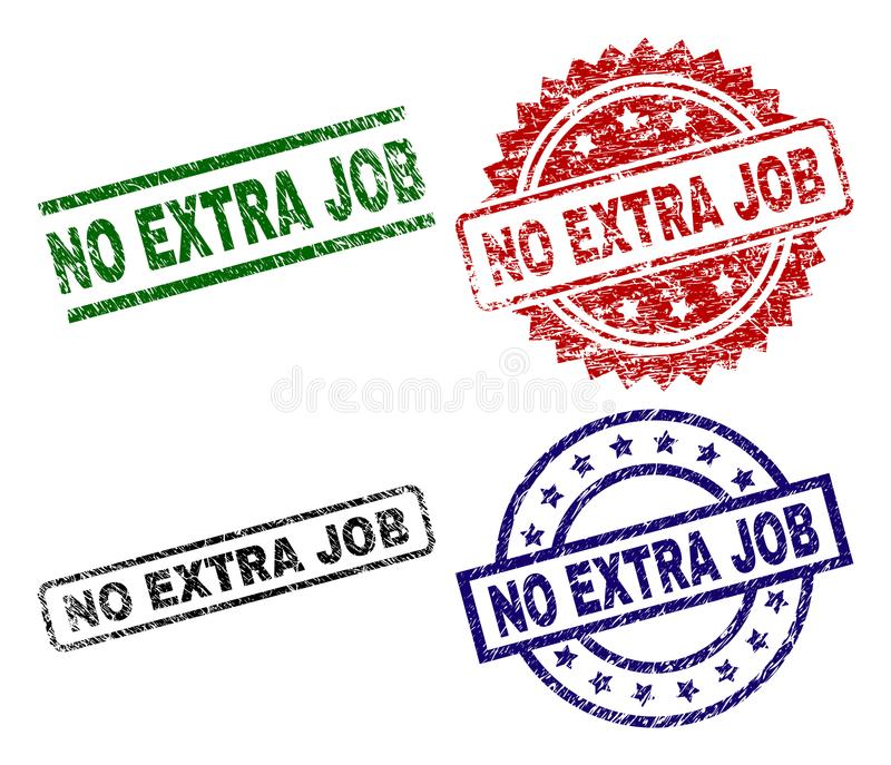 Riscado Textured NENHUM JOB Seal Stamps EXTRA ilustração stock