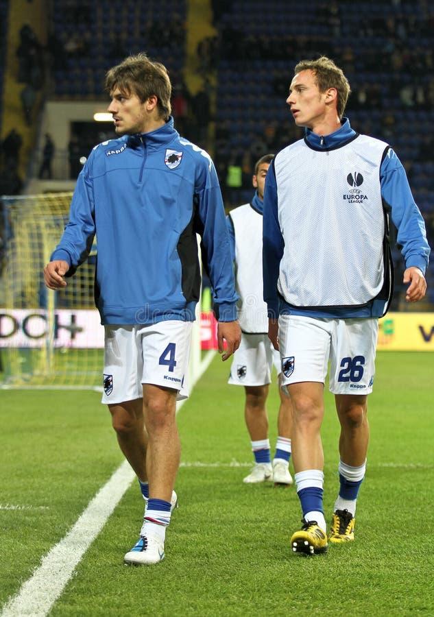 Riscaldamento dei giocatori di Sampdoria Genova immagine stock