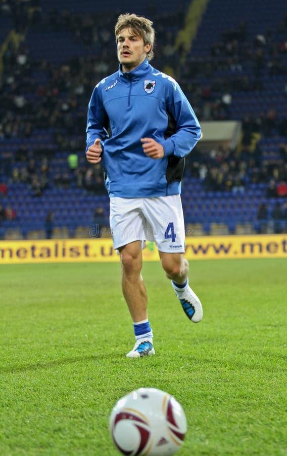 Riscaldamento dei giocatori di Sampdoria Genova fotografie stock libere da diritti