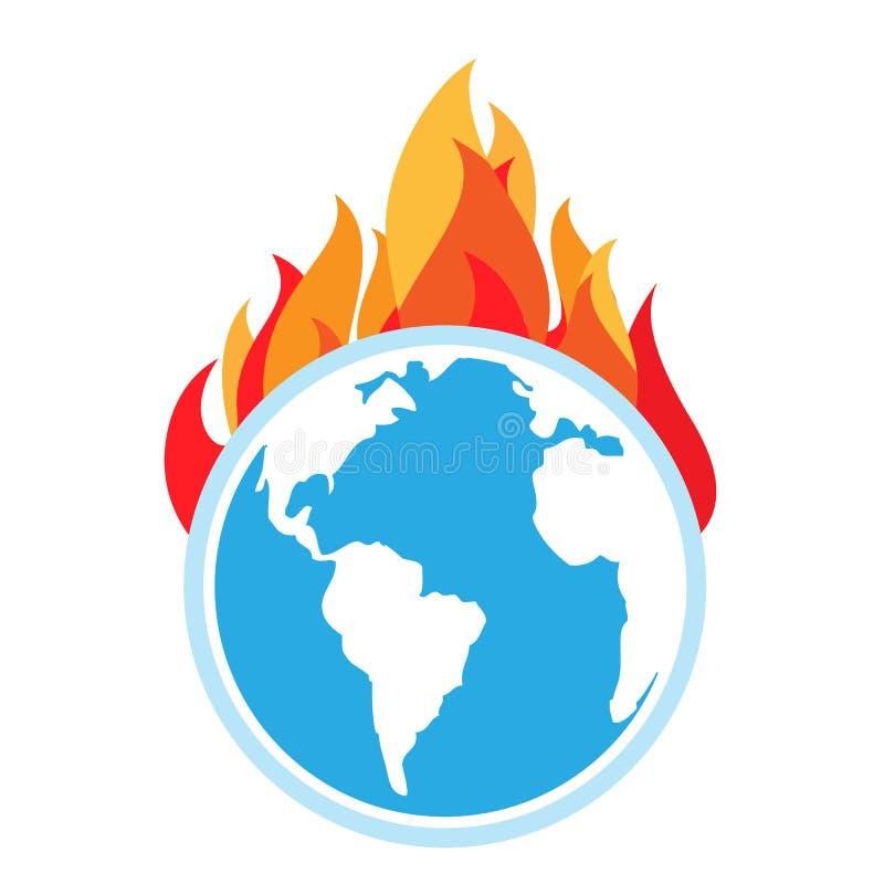 Riscaldamento globale Fuoco su terra illustrazione di stock