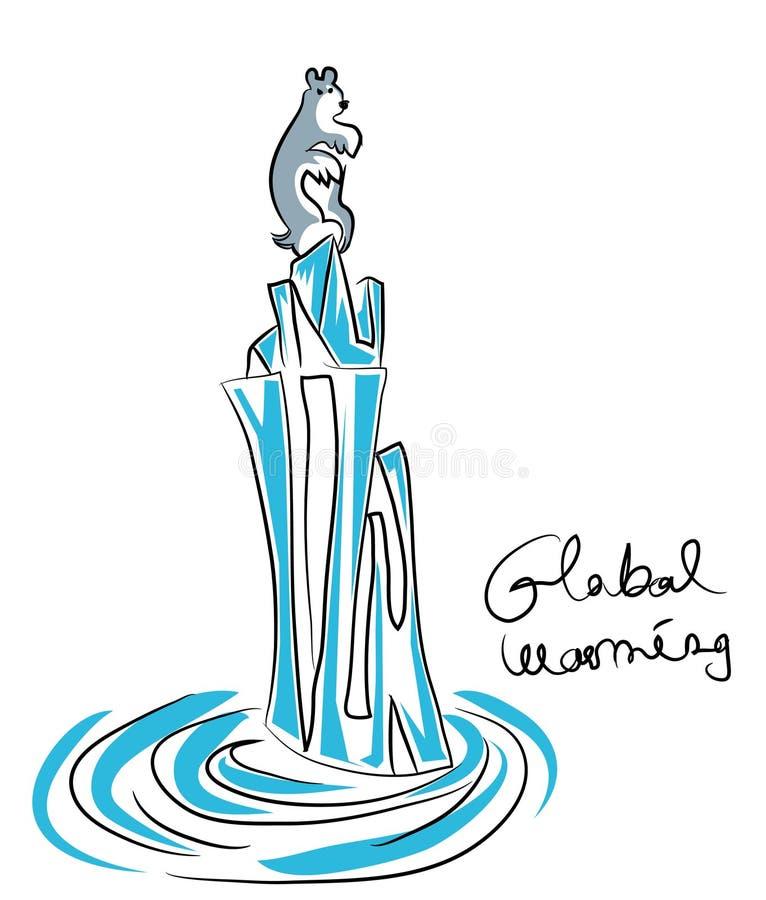 Riscaldamento globale - polare riguardi l'iceberg lungo illustrazione vettoriale