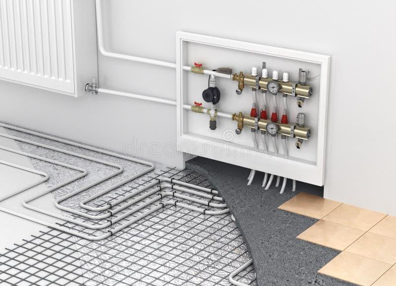 Riscaldamento a pavimento con il collettore ed il radiatore nella stanza Concentrato fotografia stock