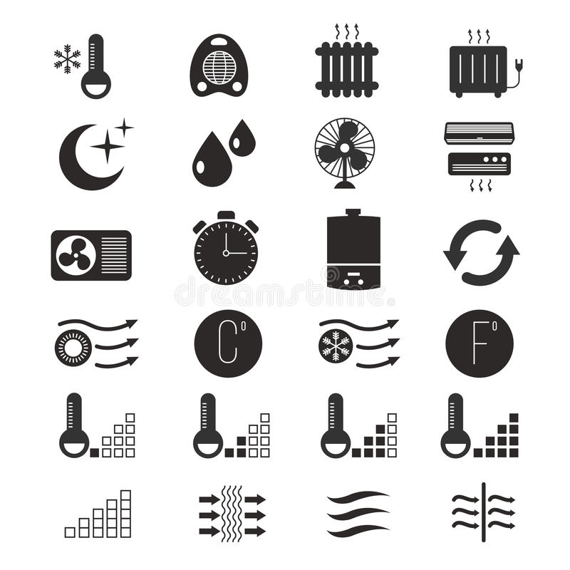 Riscaldando e raffreddandosi, icone di vettore del sistema di condizionamento d'aria royalty illustrazione gratis