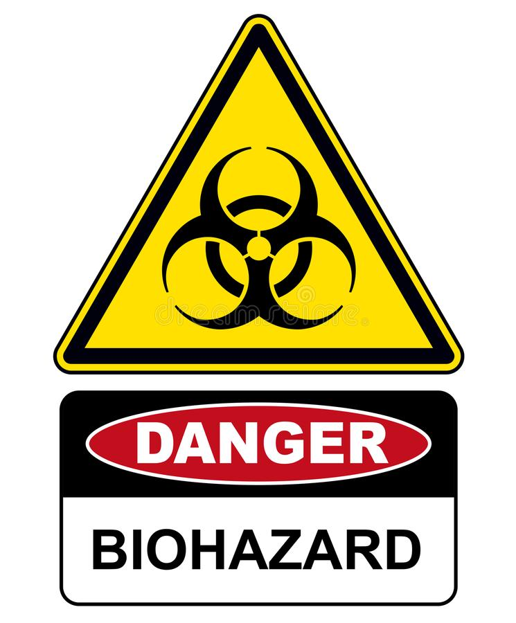 Rischio biologico, avvertimento del segno del pericolo royalty illustrazione gratis