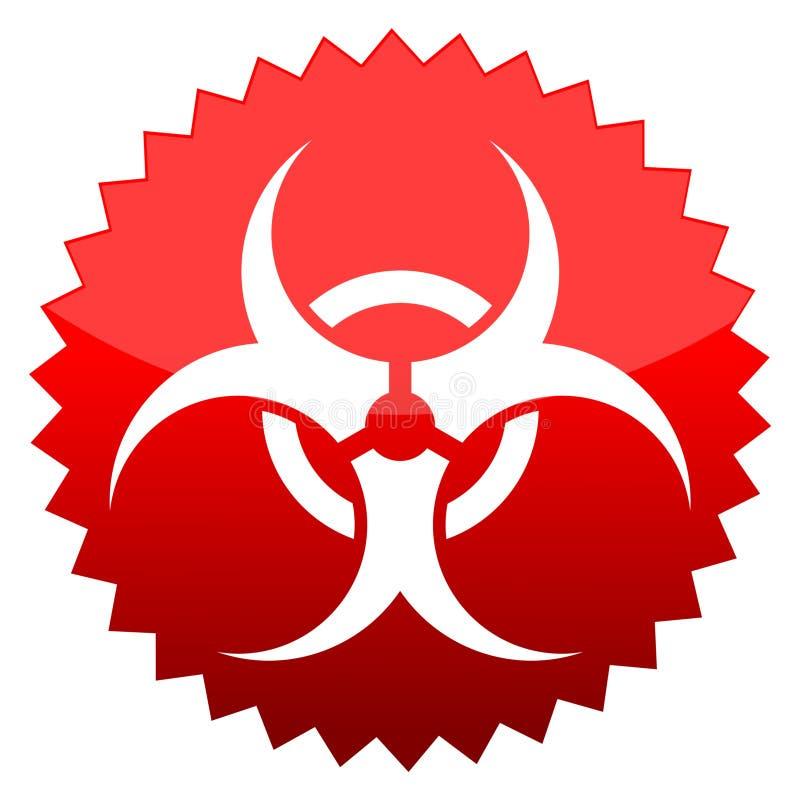 Rischio biologico, segno rosso del sole illustrazione vettoriale