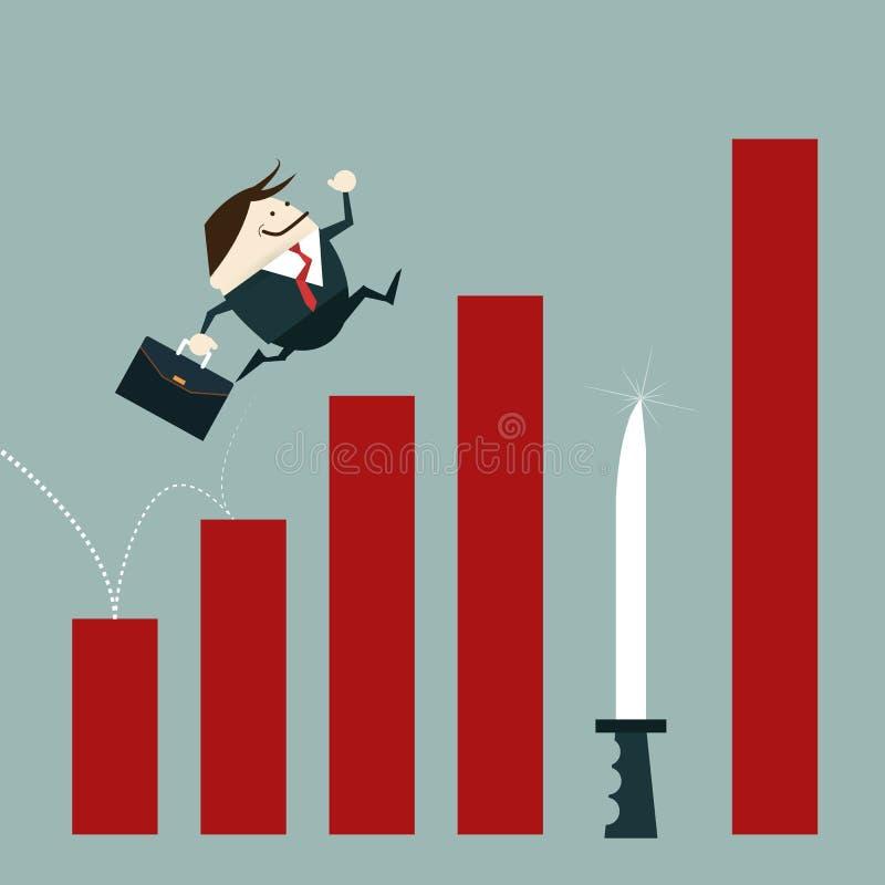 Rischio dell'uomo d'affari di errori di investimento illustrazione vettoriale