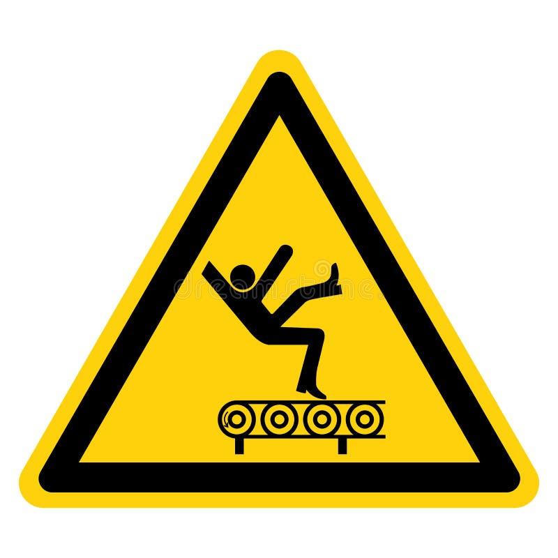 Rischio di caduta dal segno di simbolo del trasportatore, illustrazione di vettore, isolato sull'etichetta bianca del fondo EPS10 illustrazione vettoriale