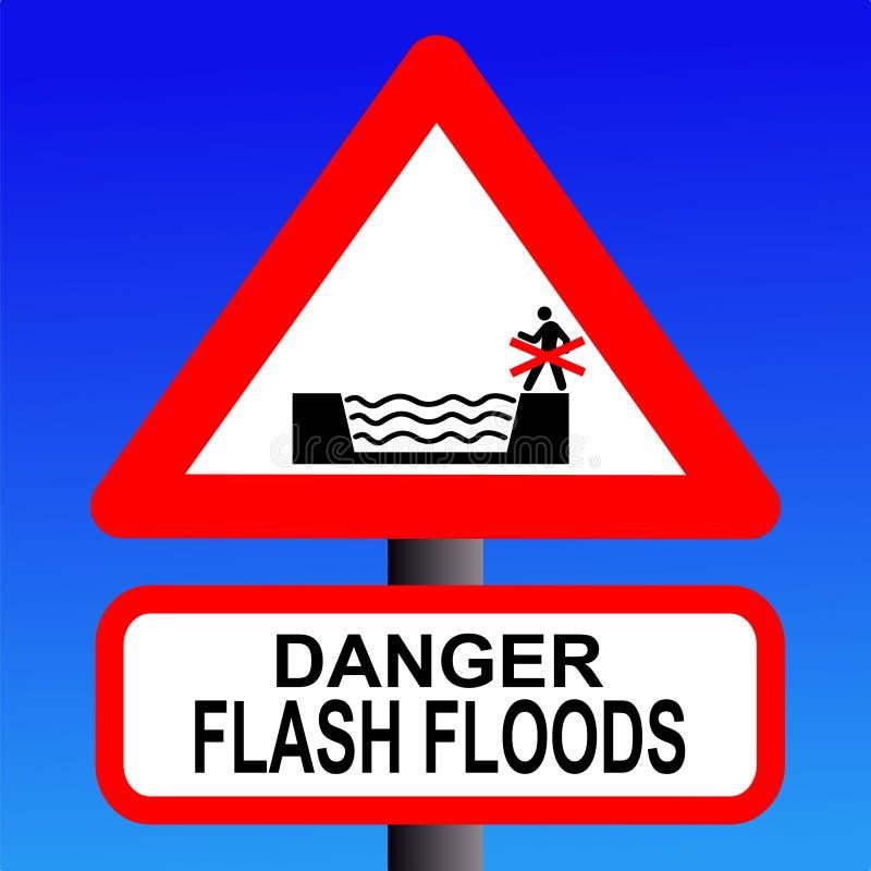 Rischio di segno istantaneo di inondazione illustrazione di stock