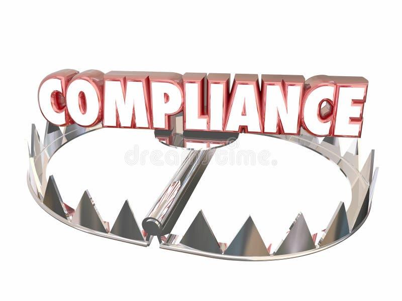 Rischio legale della trappola dell'orso di regolamenti di regole di conformità illustrazione di stock