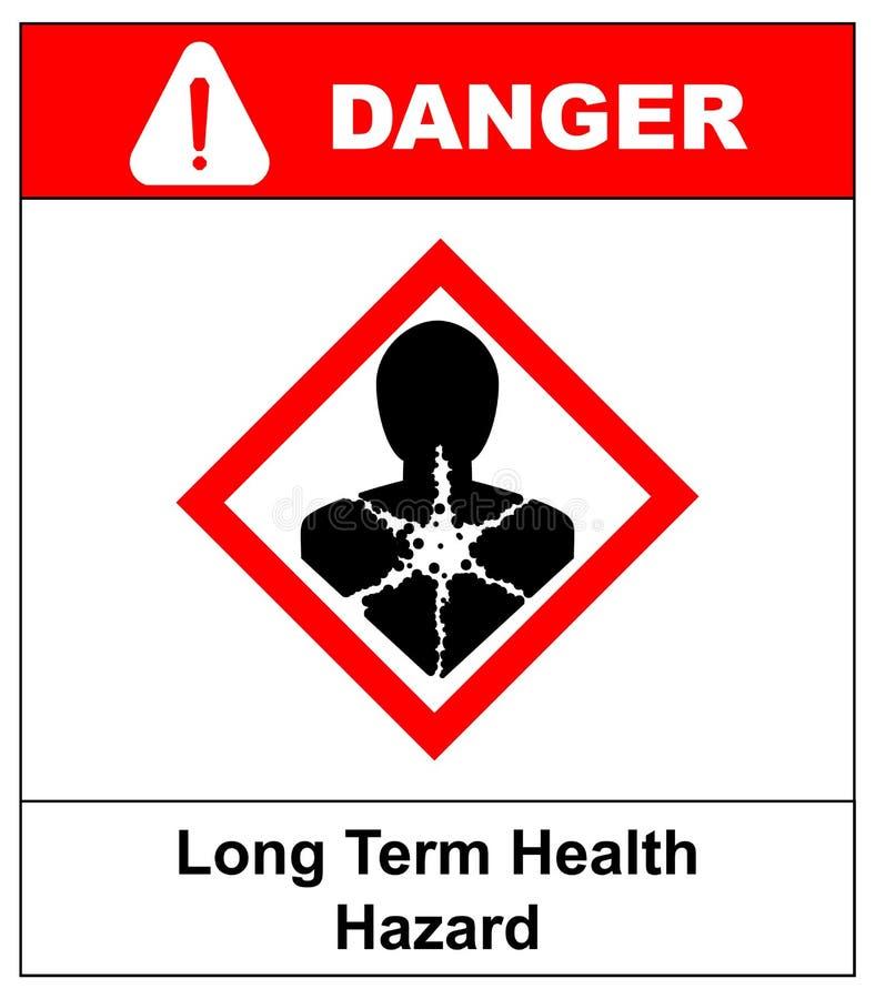 Rischio per la salute a lungo termine, uomo nel simbolo rosso del rombo Insegna del pericolo per la fabbrica Illustrazione di vet illustrazione vettoriale