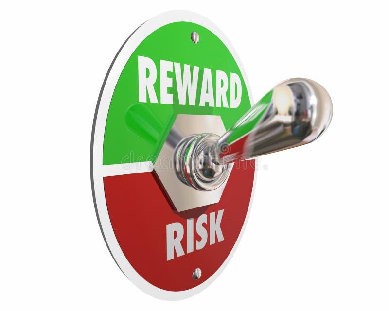 Risco contra o interruptor do retorno sobre o investimento da recompensa ilustração stock