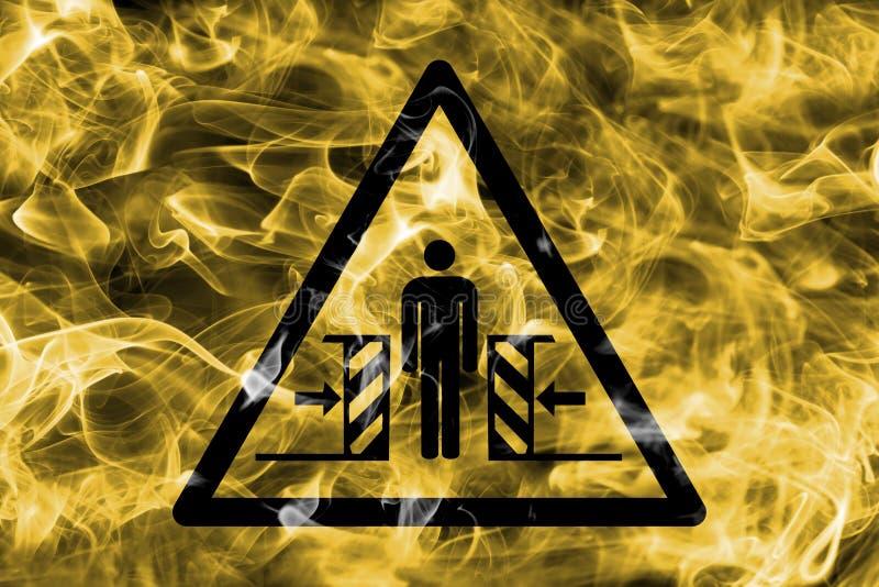 Risco de esmagar sinal de advertência do fumo do perigo Aviso triangular h ilustração do vetor