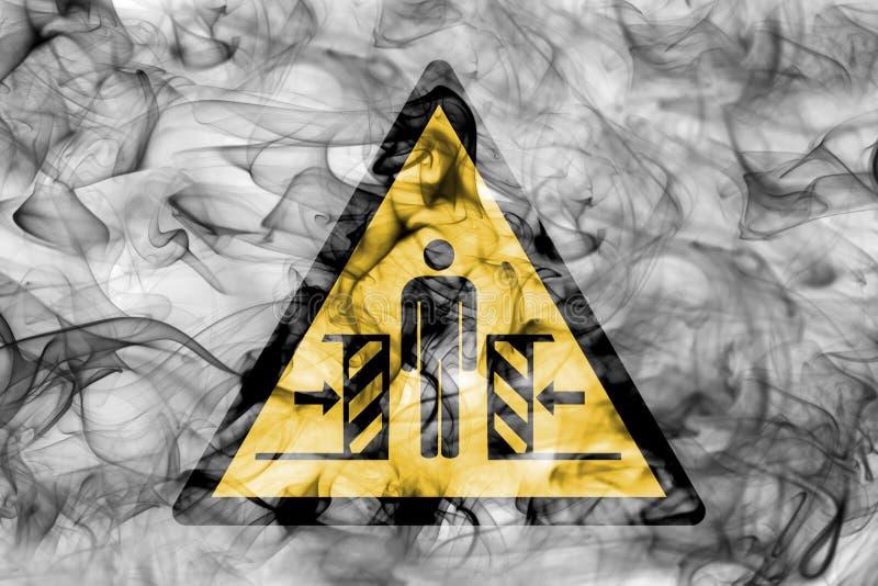 Risco de esmagar sinal de advertência do fumo do perigo Aviso triangular h ilustração stock