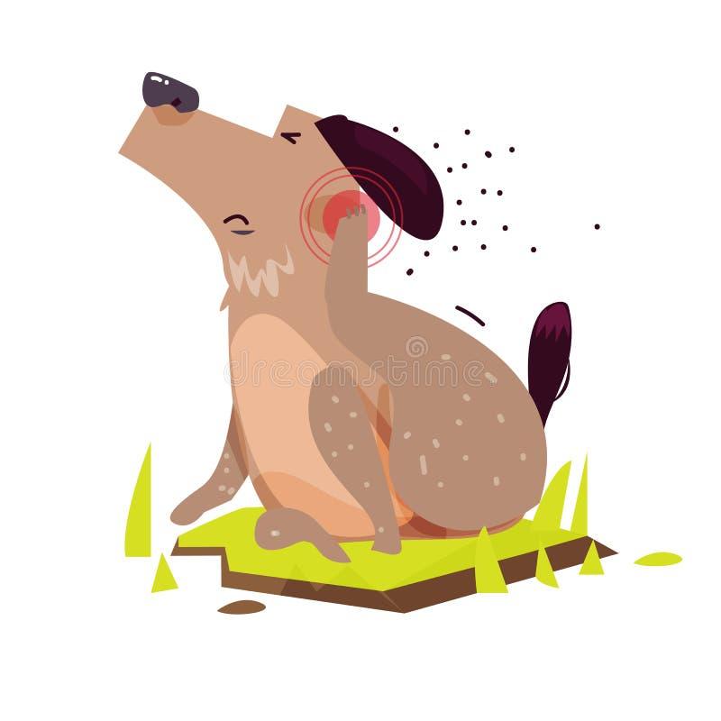 Risco do cão Pele sarnento - ilustração stock