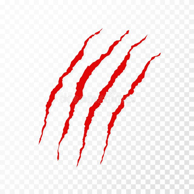Riscos animais das garras no fundo transparente Riscos vermelhos do urso, do leão ou do tigre ilustração stock