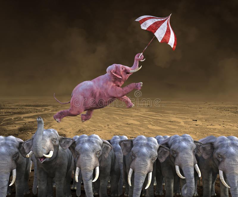 Success, Sales, Marketing, Business, Goals. A pink elephant flies above the crowd which is a herd of grey elephants. Abstract concept for success, sales
