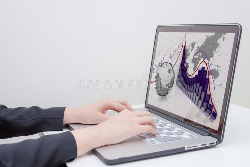 Rise arrow with graph. Business woman use computer with `rise arrow with graph` presentation stock photos