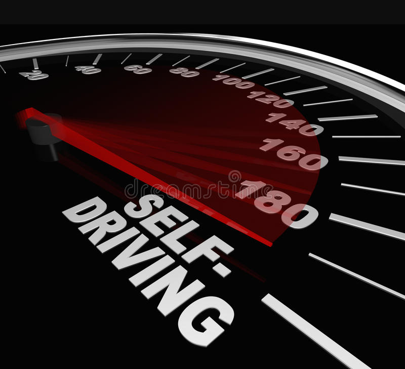 Rise Of Self-Driving Autonomous Cars Speedometer Words Royalty Free Stock Images