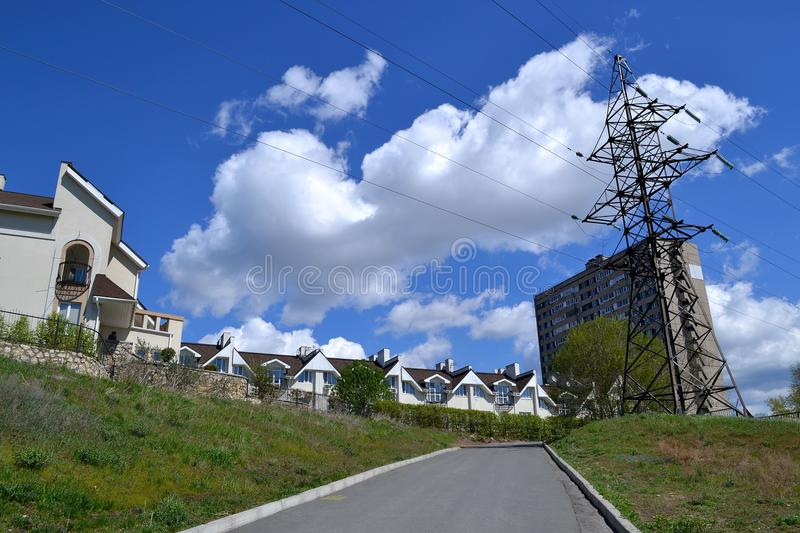Rise to civilization & x28;walks in Tolyatti& x29;. The view of Komsomolsky district when lifting from the Volga river embankment royalty free stock photography
