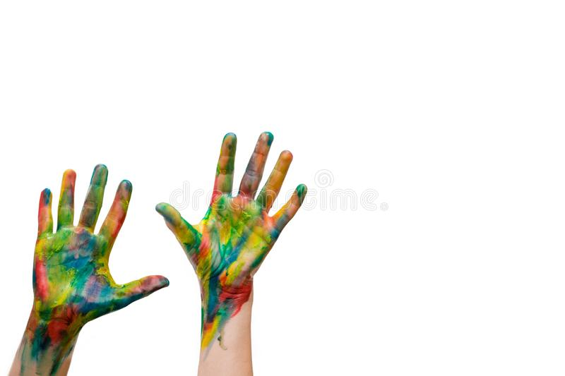 rised up hands painted with watercolors isolated on white background. ready for your logo, text or symbols. The concept of royalty free stock photo