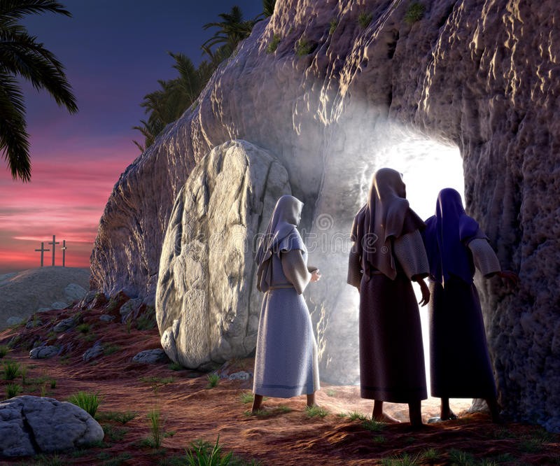 He is Risen. Mary Magdalene, Mary, & Salom walking up to the bright empty tomb of Jesus Christ early Sunday morning, Showing Golgotha in the background