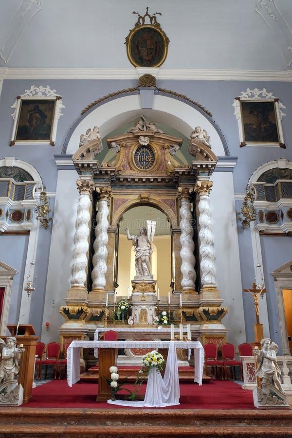 Risen Christ. Altar in Franciscan church of the Friars Minor in Dubrovnik, Croatia stock photo