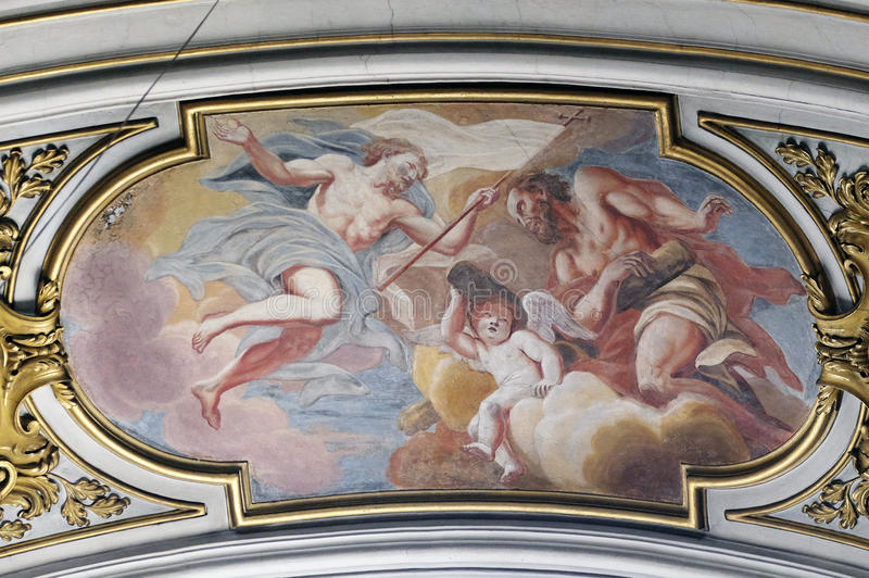 Risen Christ and St. Andrew in heavenly glory. Fresco painting in the St Nicholas Cathedral in Ljubljana, Slovenia stock images