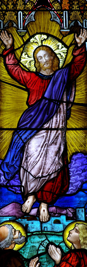 Risen christ in stained glass. A photo of the risen Christ in stained glass royalty free stock images