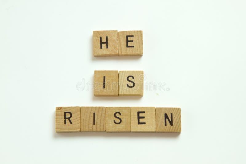 He is Risen Christian blocks on white background. He is Risen Christian wood blocks on white background stock images