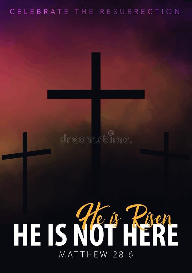He is risen. Christian easter scene. Saviour`s cross on dramatic sunrise scene. royalty free illustration