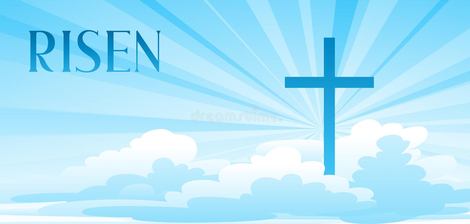 Risen. Easter illustration. Greeting card with cross and clouds. Religious symbol of faith royalty free illustration