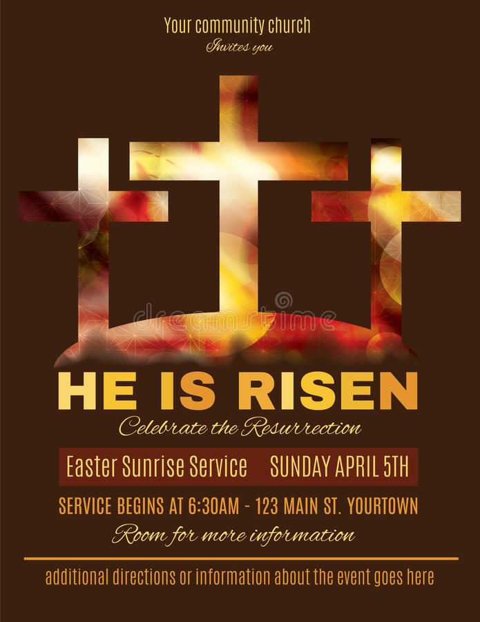 He is Risen Easter Sunrise Service Flyer template royalty free illustration