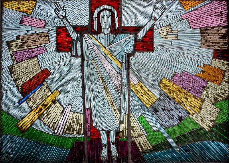 Risen Jesus colorful artwork in glass stock image
