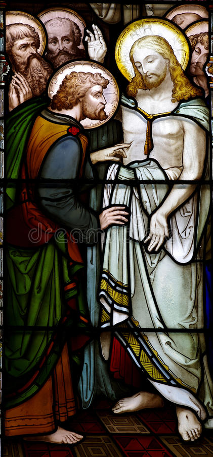 Risen Jesus with Mary Magdalene. A stained glass photo of Jesus and Mary Magdalene royalty free stock photos