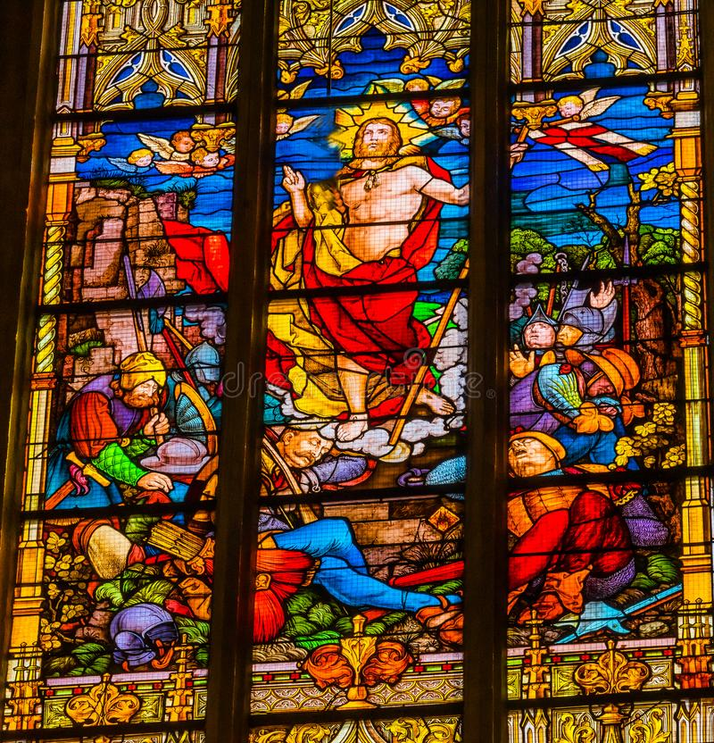 Risen Jesus Stained Glass All Saints Church Schlosskirche Wittenberg Germany. Risen Jesus Christ Resurretion Stained Glass All Saints Castle Castle Church royalty free stock images