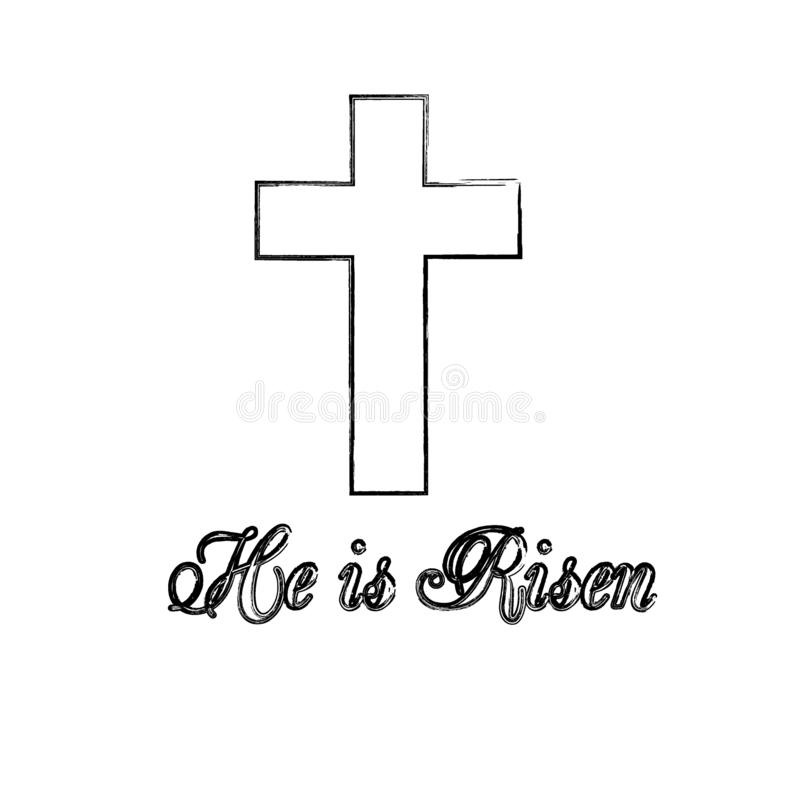 He is Risen text with cross on white background. vector illustration