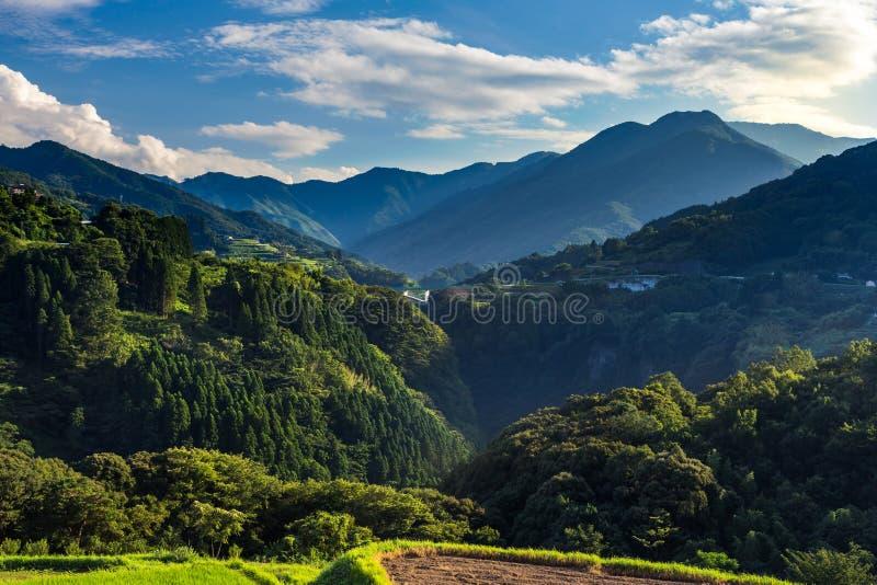 Risfältlandskap och ärke- bro i Takachiho, Miyazaki, Jap arkivfoton