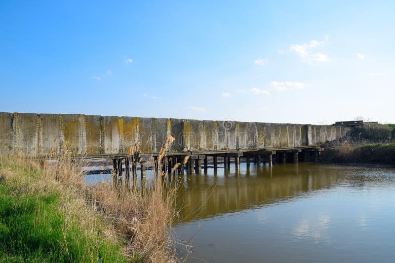 Risf?lt f?r kanalbevattningsystem Konkret tunnel f?r bevattningkanal fotografering för bildbyråer