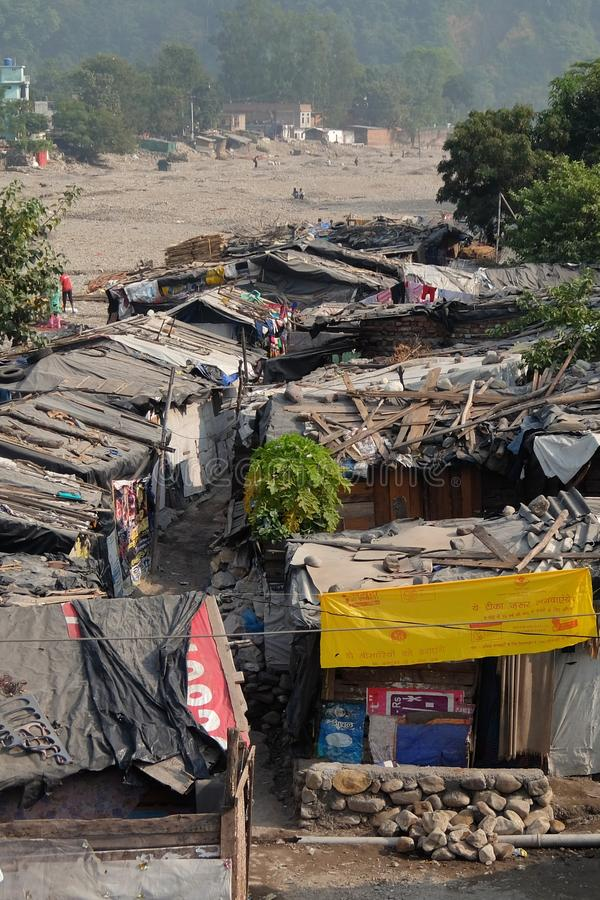 View of slums of Rishikesh, Uttarakhand, India stock photos